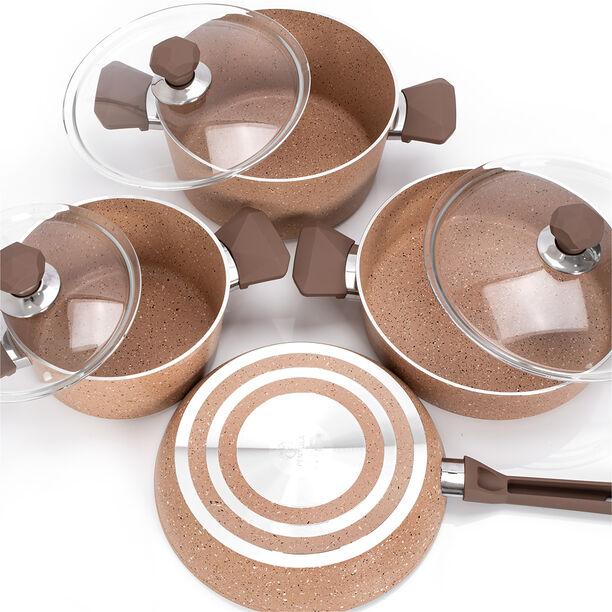 Pentola 7 Pieces Granite Cookware Set Brown image number 2