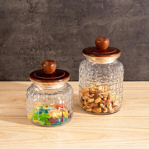 Alberto Glass Storage Jar With Wooden Lid V:1350Ml image number 1