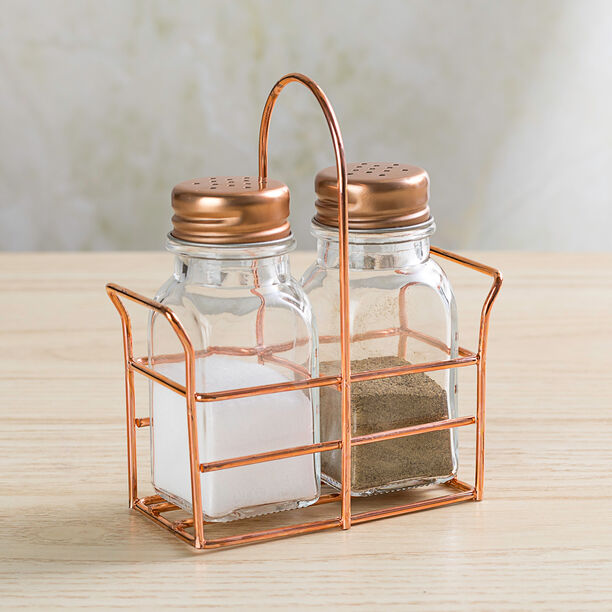 Alberto 2 Prieces Glass Salt And Pepper Set With Metal Stand image number 3
