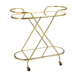 Serving Trolley Oval 2 Tier Gold With Mirror Top