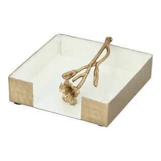 Napkin Holder White&Satin Gold