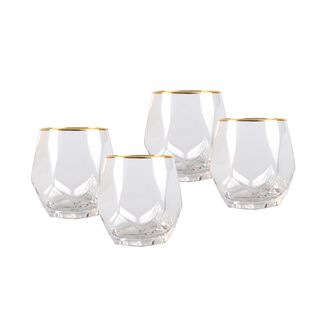 La Mesa Tumbler 4 Pieces Set Clear+Gold