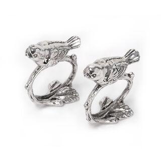 2 Pcs Alloy Napkin Ring Birds