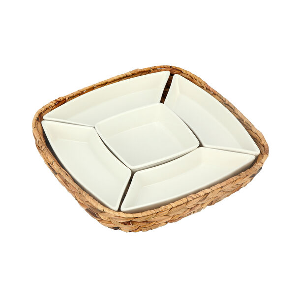 5Pcs Section Tray With Sea Grass Basket image number 0