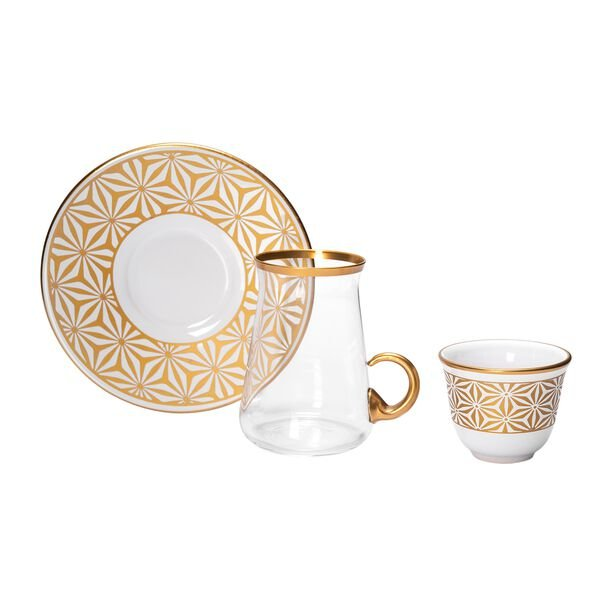 18 Pieces Tea Metalic Plate And Arabic Glass Kawa Set With Golden Glass Handle image number 1