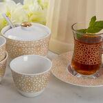 طقم شاي و قهوة عربي 20 قطعة لون ذهبي/أبيض image number 1