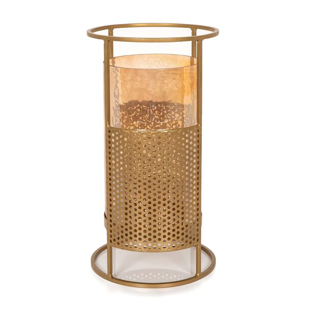 Metal And Glass Candle Holder Gold image number 1