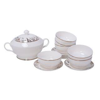 La Mesa Porcelain Soup Set 14 Pieces Tureen Skan Ya Makan White/Gold