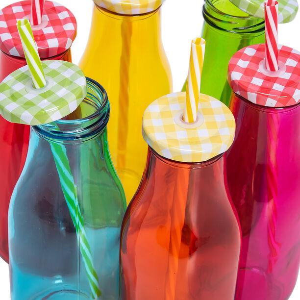 Alberto 6 Pcs Glass Milk Bottles W/ Metal Lid & Straw Asst Colors image number 3