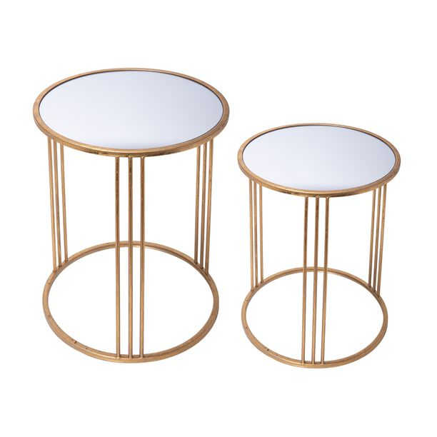 Side Table Set Of 2 Gold With Mirror Top Big image number 1