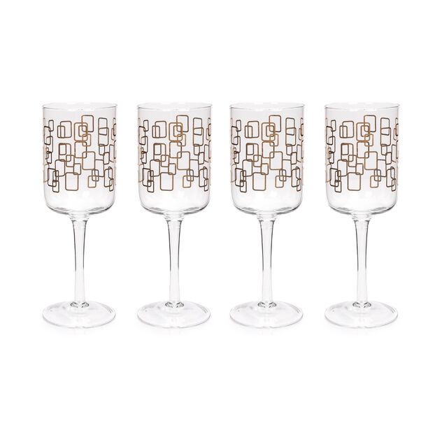 S/4 Stem Glass With Gold Pane Decal image number 0