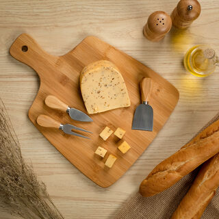 Bamboo Cutting Board With Handle And 3 Cheese Knives