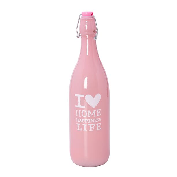 Alberto Glass Bottle Color Painted With Plastic Clip Lid Pink image number 0