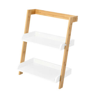 2 Tiers Bamboo Mdf Storage Rack White