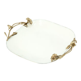 Tray 1 Piece Wihte Gold Floral