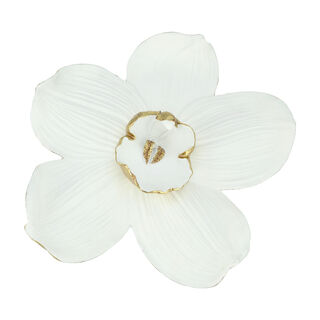Wall Deco Orchid Flower White and Gold 51.2*14.5*54.2Cm
