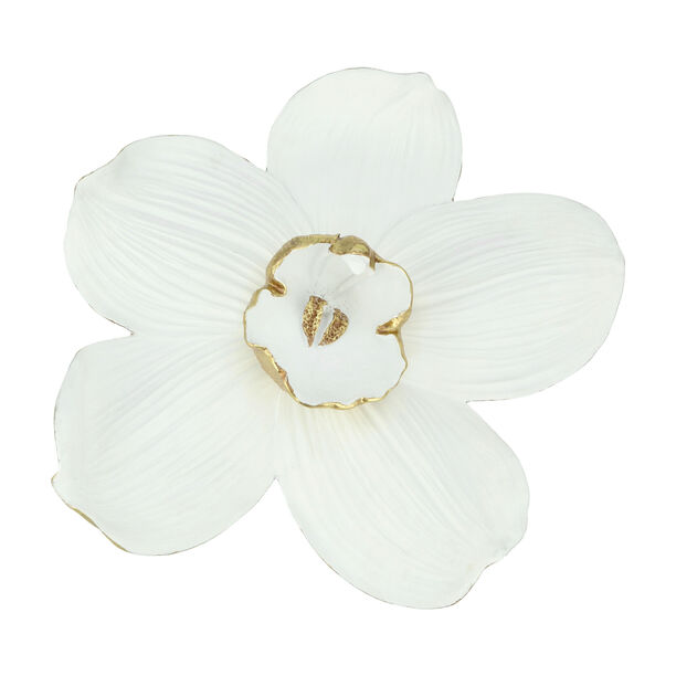 Wall Decoration Orchid Flower White & Gold image number 0