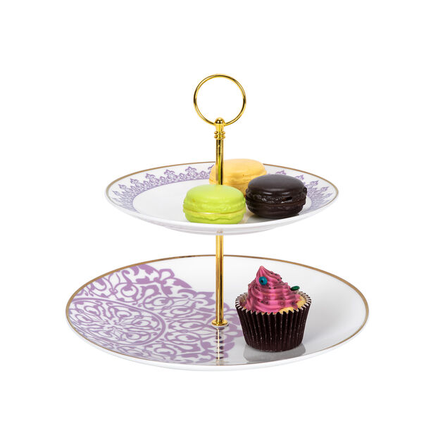 طبق تقديم الحلويات طبقتين image number 1