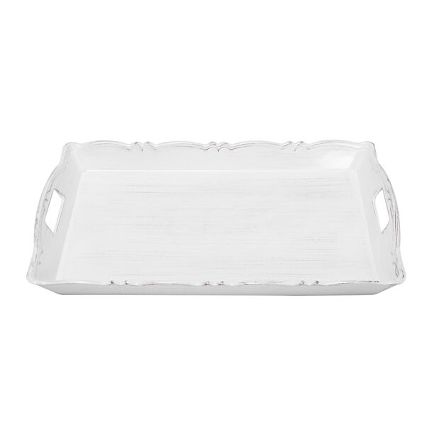 Serving Tray Antique Finish White Color image number 1