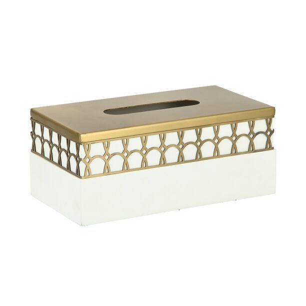 Metal & Wood Tissue Box Qamaryat image number 1