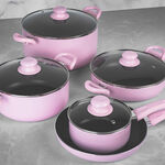 Alberto Non Stick Cookware Set 9 Pieces Pink Color image number 3