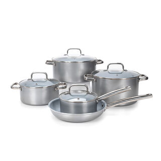 9Pcs Non Stick Cookware Set WithCeramic Coating Inside Silver