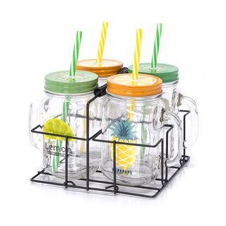 Alberto 4Pcs Glass Mug With Metal Holder V:450Ml Summer Design