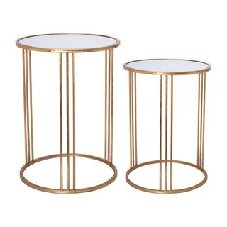 Side Table Set Of 2 Gold With Mirror Top Big