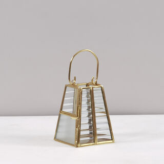 Candle Holder Gold Brass And Glass