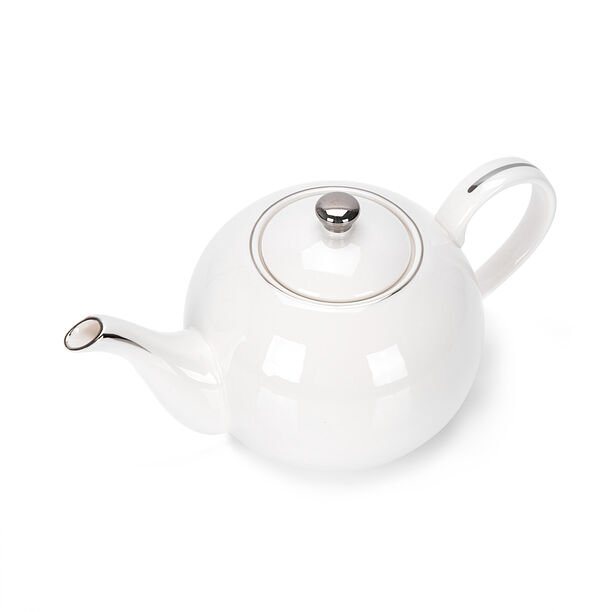 English Tea Pot White Silver Rim image number 1
