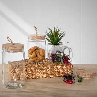 Alberto Glass Canister With Wooden Lid