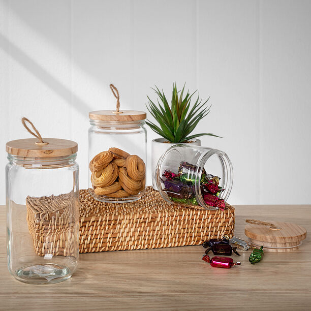 Alberto Glass Canister With Wooden Lid image number 0