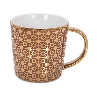 Porcelain Mug Electroplating Brown/Gold 420Ml