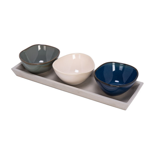 3 Pcs Serving Bowl On Grey Wood Tray image number 0