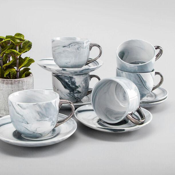 طقم أكواب الشاي 12 قطعة تصميم الرخام image number 3