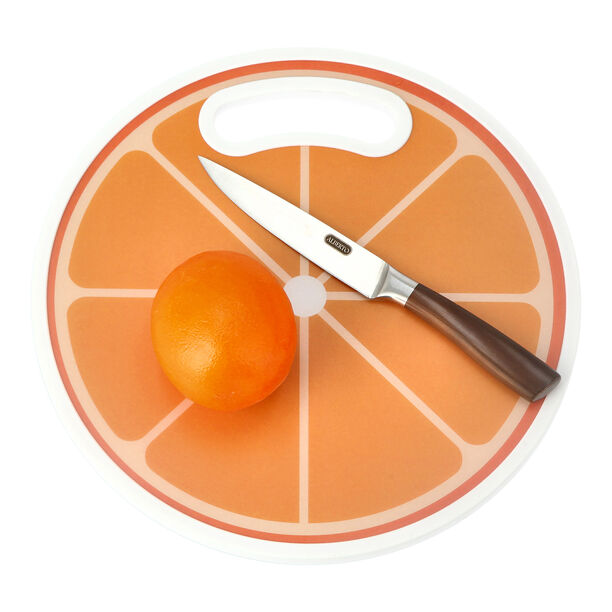 Round Plastic Printed Cutting Board Orange Design image number 1