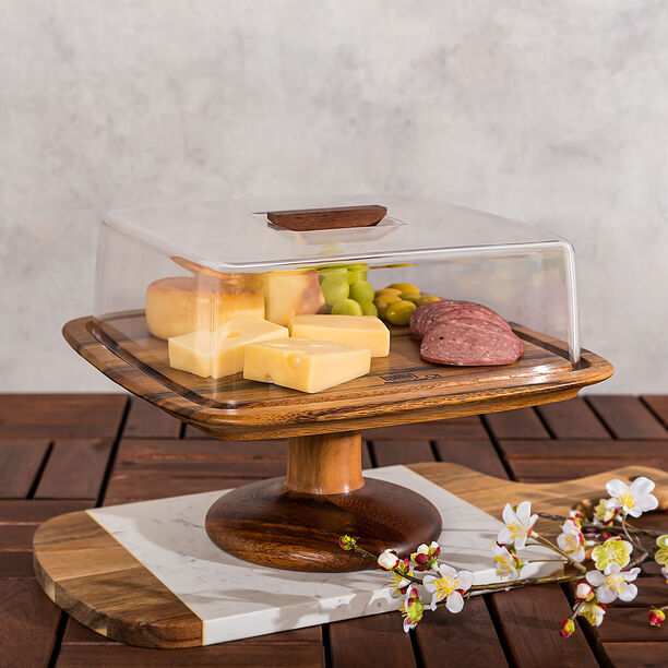 Billi Acacia Wood Cake Dome With Stand L: 29.5O * 29.50Cm* 21Cm image number 0