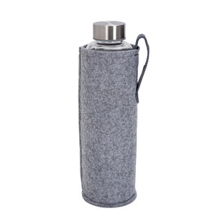 Alberto Glass Bottle With Felt Cover Grey And Blue Color V:600Ml