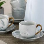 La Mesa Grey Marble/Gold Coffee Set 12 Pieces image number 3
