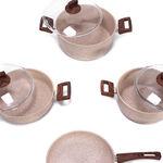 Alberto Granite Series 7 Pieces Cookware Set Wood Stone image number 1