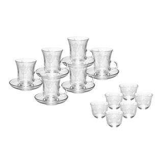Tea and Coffee Set 18 Pieces Elenor Transparent Pattren