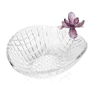 La Mesa Glass Bowl With Violet Crystal Flower 26 Cm