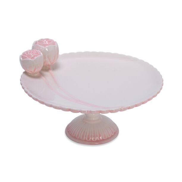 Dolomite Cake Stand With Flower Pink image number 0