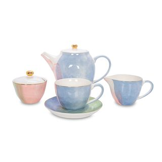 English Tea Set Serve 4 Ppl Colors Of Paradise 11Pc