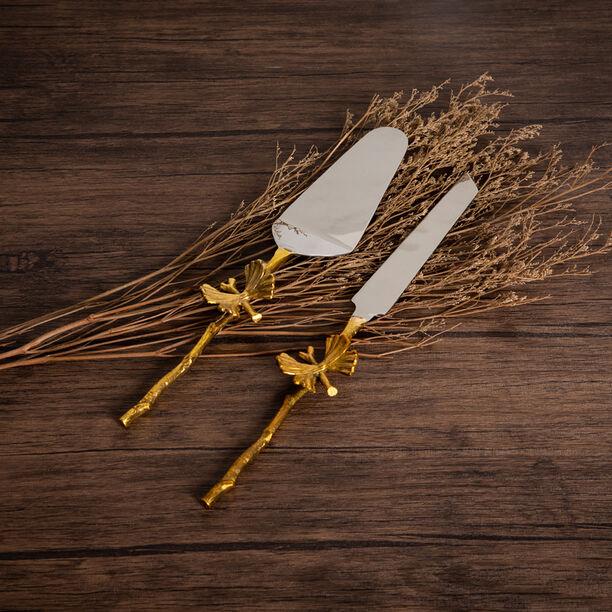 La Mesa 2 Pieces Cutlery Flower Golden Handle Silver image number 0
