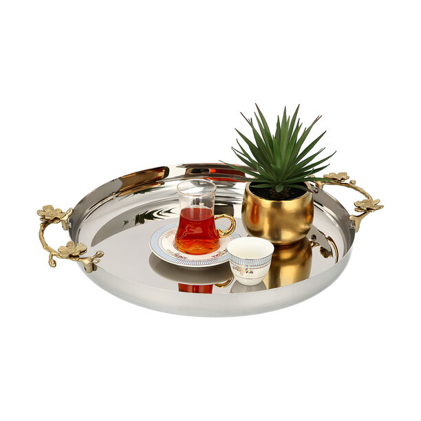 Steel Round Tray 1Pc Harmony Gold And Silver image number 1