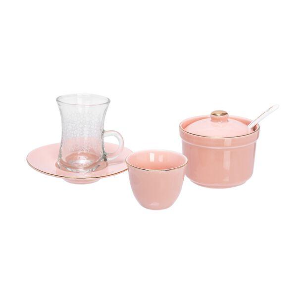 طقم شاي وقهوة 20 قطعة لون وردي  image number 1