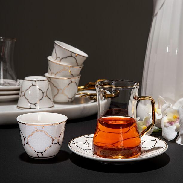18 Pcs Porcelain Arabic Tea And Coffee Set image number 1