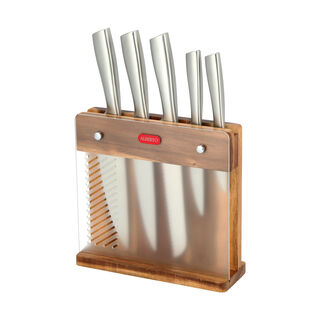 Alberto Rubber Wood Knife Block With5 Stanless Steel Knives Set