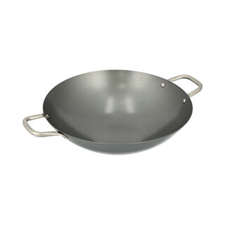 Non Stick Wok Pan With Steel Handle Round Shape Black